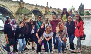 ESAC students by Charles bridge
